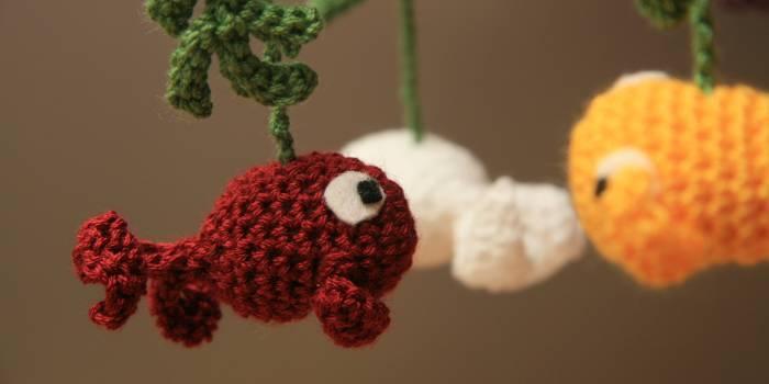 Movil colgante de peces Crochet, Amigurumi Acr?lico ...